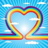 Saint Valentine's Da. Heart from rainbow on the sky Stock Image
