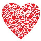 Saint Valentine's Day. Big heart made from lots of small hearts vector illustration