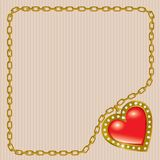 Saint Valentine's Day. Heart on the gold chain royalty free illustration