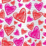Saint Valentine's Day. Seamless pattern with draw hearts royalty free illustration