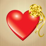 Saint Valentine's Day. Red heart with gold bow royalty free illustration