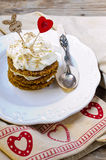 Saint Valentine's Day Carrot Cake Royalty Free Stock Photos