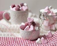 Saint Valentine`s day surprise breakfast royalty free stock photos