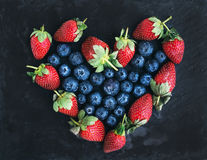 Saint Valentine's day greeting berry set: fresh garden straberri Royalty Free Stock Photos