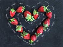Saint Valentine's day greeting berry set: fresh garden strawberr Stock Images
