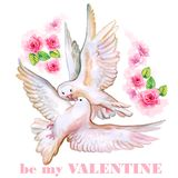 Saint Valentine's Day greeting card design. Hand drawn watercolor Valentine card. Be my Valentine title