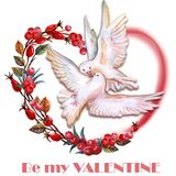 Saint Valentine's Day greeting card design. Hand drawn watercolor Valentine card. Be my Valentine title Royalty Free Stock Images