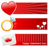 Saint Valentine s Day Horizontal Banners. A collection of three St. Valentines or Saint Valentine s Day horizontal banners with a big heart, a diamond ring and a Stock Photos