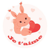 Saint Valentine's Day illustration with squirrel holding a heart Royalty Free Stock Photo
