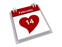 Saint Valentine's Day. Pad showing red heart shape with a white number 14 inscribed in it i and a red header bar with text 'February', white background vector illustration