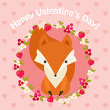 Saint Valentine's Day pink card with fox Stock Photos