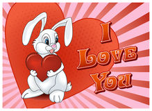 Saint Valentine's Day Rabbit with heart Royalty Free Stock Photography