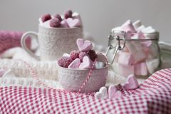 Saint Valentine`s day surprise breakfast royalty free stock photos