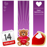 Saint Valentine s Day Vertical Banners. A collection of three St. Valentines or Saint Valentine s Day vertical banners with a calendar, a cute teddy bear holding Stock Image