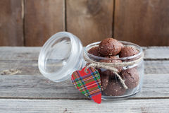 Saint Valentine's gift - a jar with chocolate cookies Stock Image