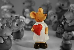 Saint Valentine's Mouse Girl. Art composition  of ceramic statuettes Royalty Free Stock Photo