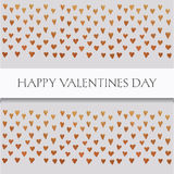 Saint valentines card  with text and little golden hearts on grey background Stock Images
