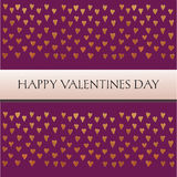 Saint valentines card  with text and little golden hearts on purple background Royalty Free Stock Photography