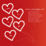 Saint valentines day card with five line hearts with text Royalty Free Stock Images