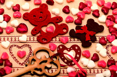 Saint Valentines Day Decoration, bear, heart, key, candy Stock Photo