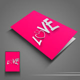 Saint Valentines Day flyer or banner with text Love on pink back Stock Photo
