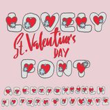 Saint Valentines Day font. Heart pink lettering. Vector illustration. Saint Valentines Day font. Heart pink lettering. Vector illustration vector illustration