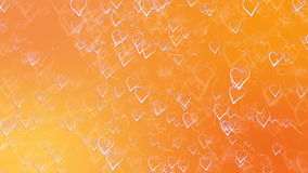 Saint Valentines Day Greeting Card. Abstract Orange Background with Outline Hearts. stock footage