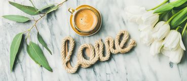 Saint Valentines Day layout with coffee and tulips Royalty Free Stock Photos