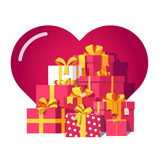 Saint Valentines day red gift boxes. With yellow ribbon bows with big here in background. Pile of bright presents. Flat isometric illustration on white Royalty Free Stock Photos