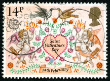 Saint Valentines Day UK Postage Stamp Stock Image