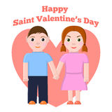Saint Valentines Greeting Card with Boy and girl Royalty Free Stock Photo