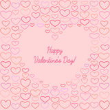 Saint Valentines Greeting Card with Outline Hearts Royalty Free Stock Image