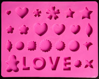 Saint Valentines pink icons Stock Images