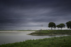 Saint valery sur somme. France, long exposure sky, summer storm clouds stock photo