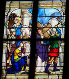 Saint Veronica and Christ. Saint Veronica and the image of Christ on her veil, on a stained glass window in Saint Catherines church in Honfleur, Calvados, France Stock Images