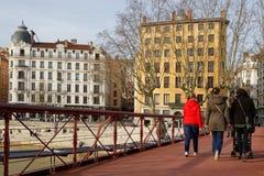 Saint-Vincent bridge and historic district of Lyon Royalty Free Stock Photos