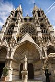 Saint Vincent de Paul church and statue. Of Joan of Arc in Marseille, France Stock Images