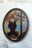 Saint Vincent de Paul. Painting on church altar Stock Photo
