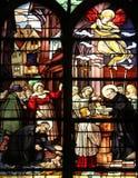 Saint Vincent de Paul raising a newborn and christening Stock Photo
