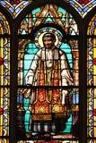 Saint Vincent de Paul. Stained glass window from Saint Germain-l`Auxerrois church, Paris Stock Photography