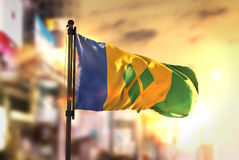 Saint Vincent and the Grenadines Flag Against City Blurred Backg Royalty Free Stock Photography