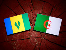 Saint Vincent and the Grenadines flag with Algerian flag on a tr. Ee stump Stock Photography