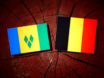 Saint Vincent and the Grenadines flag with Belgian flag on a tre. E stump Stock Image