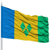 Saint Vincent and Grenadines Flag on Flagpole Stock Image