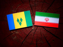 Saint Vincent and the Grenadines flag with Iranian flag on a tre Royalty Free Stock Photography