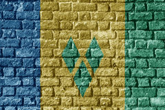 Saint Vincent and the Grenadines Flag Painted on brick wall nice Stock Photos