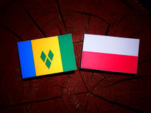 Saint Vincent and the Grenadines flag with Polish flag on a tree. Stump isolated Stock Image