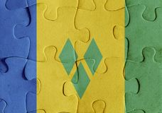 Saint Vincent and the Grenadines flag puzzle Royalty Free Stock Photo