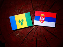 Saint Vincent and the Grenadines flag with Serbian flag on a tre. E stump isolated Royalty Free Stock Photo