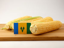 Saint Vincent and the Grenadines flag on a wooden panel with cor. N isolated on a white background Stock Photography